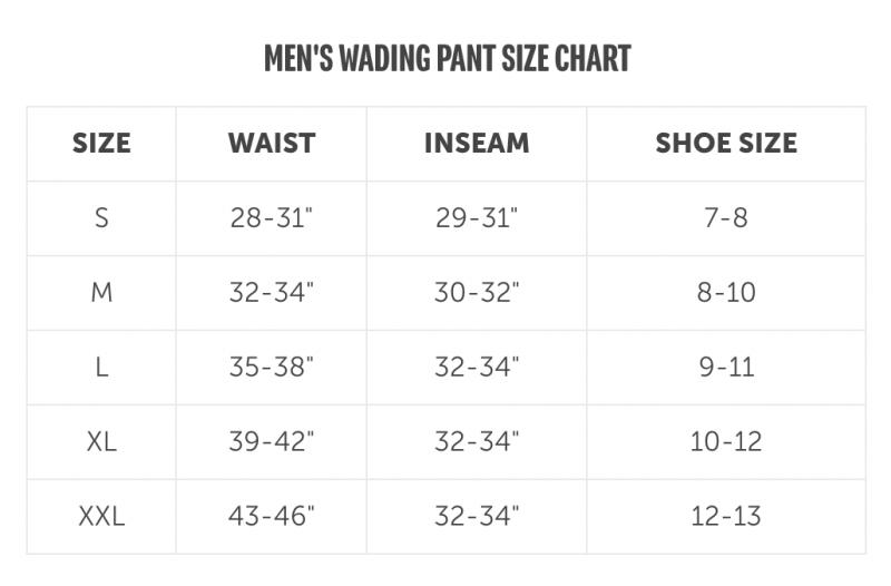 Escape Pant Size Chart
