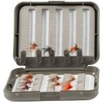 Threaders nestled in dry fly box
